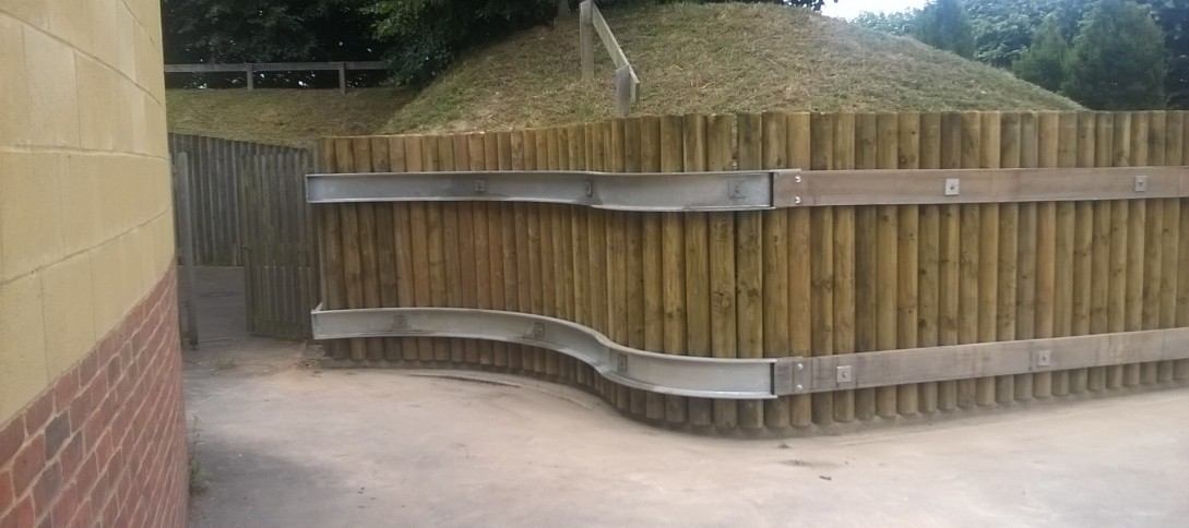 Repairs to log retaining walls, Alton College